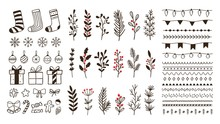 Hand Drawn Ornamental Winter Elements. Doodle Christmas Snowflake, Floral Branches And Decorative Borders. Gift Boxes, Ornament Deco Borders And Xmas Tree Leaves. Isolated Vector Symbols Set