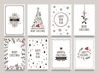 Hand drawn winter holidays cards. Merry Christmas card with floral ornaments, New Year tree and snowflakes frame. 2020 Xmas greeting or invitation inspire quote cards. Isolated vector icons set