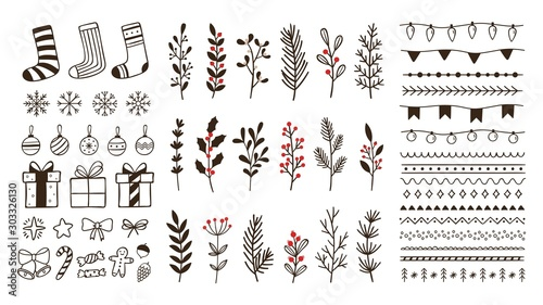 Obraz Hand drawn ornamental winter elements. Doodle christmas snowflake, floral branches and decorative borders. Gift boxes, ornament deco borders and Xmas tree leaves. Isolated vector symbols set - fototapety do salonu