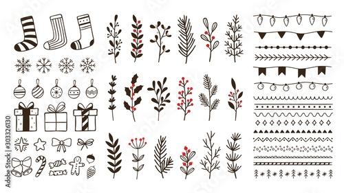 Fotografía  Hand drawn ornamental winter elements