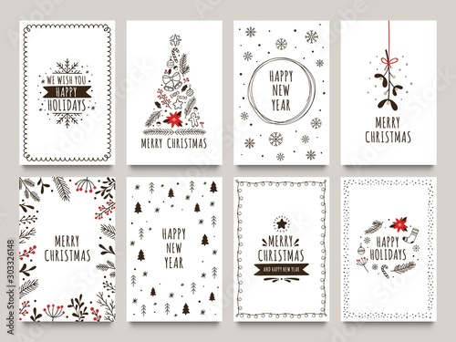 Hand drawn winter holidays cards Tableau sur Toile