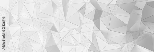 Fotomural  3d ILLUSTRATION, of white abstract crystal background, triangular texture, wide