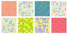 Color Seamless Geometric Pattern. Colorful Maze Pattern, Memphis Style Texture And 80s Fashion Design Patterns. Pop 90s Abstract Colorful Retro Posters. Isolated Vector Icons Set