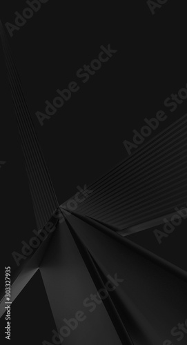 Fototapety, obrazy: 3d ILLUSTRATION, of black abstract crystal background, triangular texture, wide panoramic for wallpaper, 3d black background low poly design