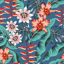 Tropical Red Orchid, Heliconia Flowers, Teal Monstera, Banana Palm Leaves Background. Vector Seamless Pattern. Jungle Foliage Illustration. Exotic Plant. Summer Beach Floral Design. Paradise Nature