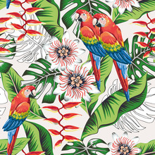 Macaw Parrots, Green Banana, Monstera Palm Leaves, Passion Flowers Background. Vector Floral Seamless Pattern. Tropical Illustration. Exotic Plants, Birds. Summer Beach Design. Paradise Nature
