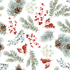 Christmas seamless pattern, red berries, green fir twigs, cones, white background. Vector illustration. Nature design. Season greeting. Winter Xmas holidays