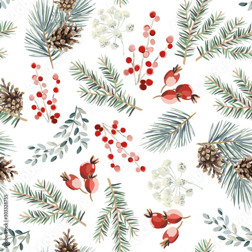 Obraz Christmas seamless pattern, red berries, green fir twigs, cones, white background. Vector illustration. Nature design. Season greeting. Winter Xmas holidays - fototapety do salonu