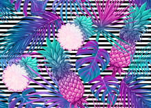 Seamless Pattern, Background With Tropical Plants, Flowers. Colored Vector Illustration In Neon, Fluorescent Colors. On Black-and-white Stripes Background..