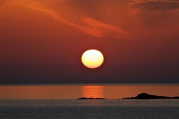 sunset over the sea, Crete island, Greece
