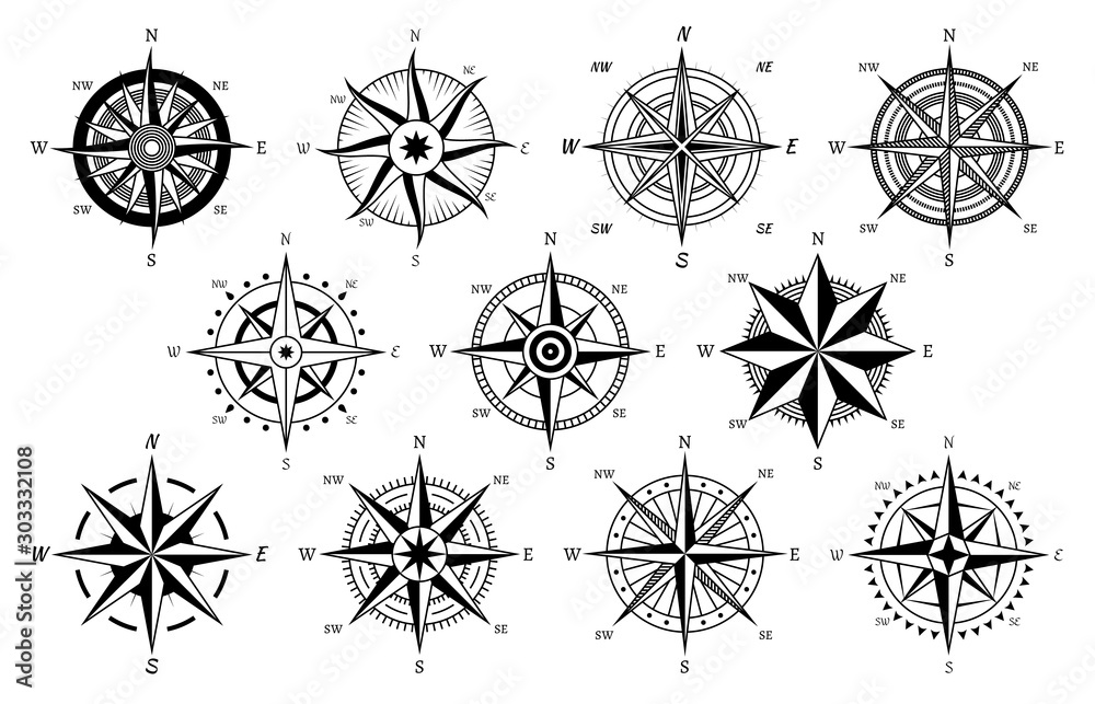 Fototapeta Vintage compass. Windrose antique compasses nautical cruise sailing symbols, sea travel marine navigation map element vector icons set