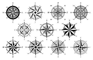 Panel Szklany Morze Vintage compass. Windrose antique compasses nautical cruise sailing symbols, sea travel marine navigation map element vector icons set