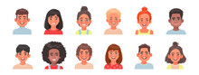 Set Of Avatars Of Children Characters. Happy Faces Of Boys And Girls Of Different Nationalities