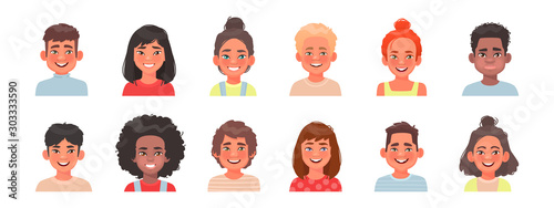 Set of avatars of children characters. Happy faces of boys and girls of different nationalities - 303333590