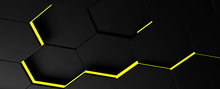 3d BLACK WITH YELLOW LINES Illustration Of Honeycomb ABSTRACT BACKGROUND, FUTURISTIC HEXAGONAL WALLPAPER, BACKGROUND