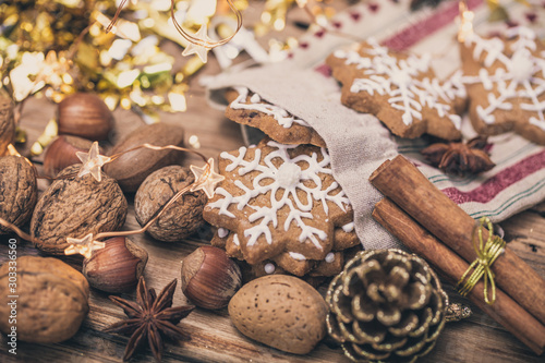christmas cookies and gingerbread on wooden christmas table