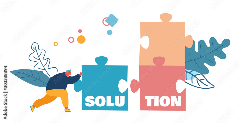 Fototapeta Business Task Solution, Compromise and Problem Solving Concept. Man Pushing Huge Puzzle Piece to Assemble Jigsaw Construction. Creativity Poster Banner Flyer Brochure. Cartoon Flat Vector Illustration