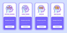 Mental Health Mobile User Interface With Copy Space And Thin Line Icons: Emotional Reasoning, Logical Thinking, Obsession, Inner Dialogue. Psychological Health. Vector Illustration For Mobile App.
