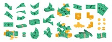 Bundle Of Money. Golden Coins And Green Dollar Banknotes, 3D Pile Of Flat Money Cash. Vector Set Of Currency Stack For Prosperity Business, Investment And Buy Different Goods