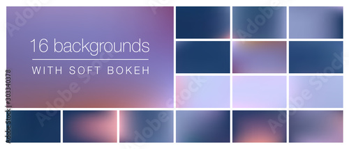 Fototapeta 16 backgrounds with soft bokeh and smooth blurry colors