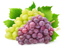 Isolated Grape Varieties. Bunch Of White And Red Grapes With Leaves Isolated On White Background With Clipping Path