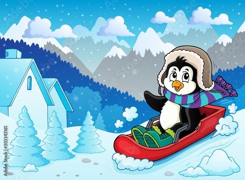 Spoed Fotobehang Voor kinderen Penguin on bobsleigh theme image 2