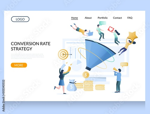 Conversion rate strategy vector website landing page design template Canvas Print