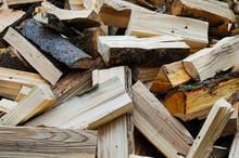Pile Of Wooden Logs, Preparing For Winter
