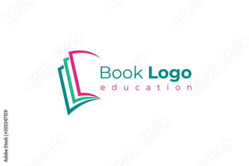 Open Book Logo Education Knowledge Symbol Paper Icon Concept Design Template Element isolated on white background Tableau sur Toile