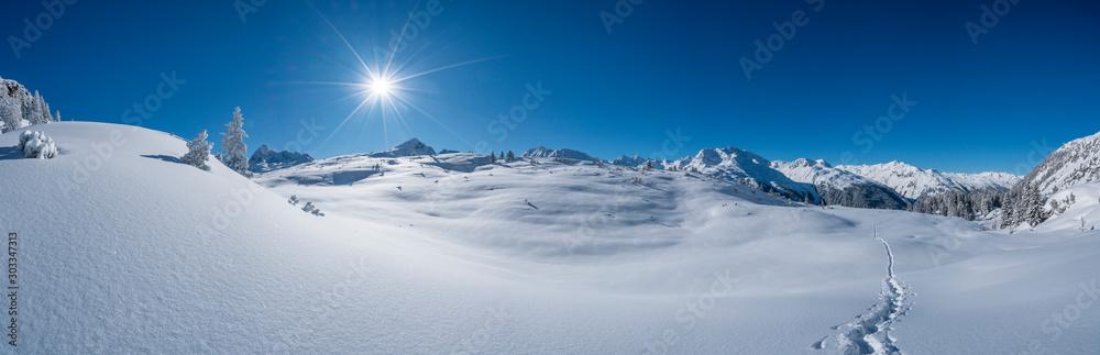 Fototapety, obrazy: Winterpanorama in den Alpen