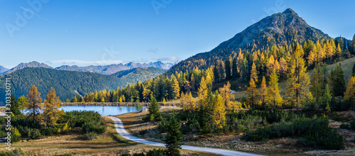 Peaceful autumn Alps mountain view. Reiteralm, Steiermark, Austria.