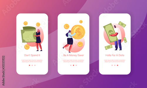 Fototapeta People Using Money Cash Mobile App Page Onboard Screen Set. Tiny Men and Women Characters Paying with Golden Coins and Currency Bills Concept for Website or Web Page, Cartoon Flat Vector Illustration obraz