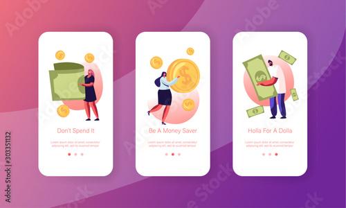 Cuadros en Lienzo  People Using Money Cash Mobile App Page Onboard Screen Set