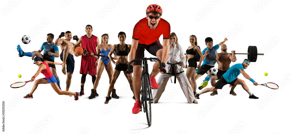 Fototapety, obrazy: Sport collage. Cycling, running, fitness, bodybuilding, tennis, fighter and basketball players