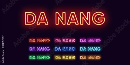 Cuadros en Lienzo  Neon Da Nang name, City in Vietnam