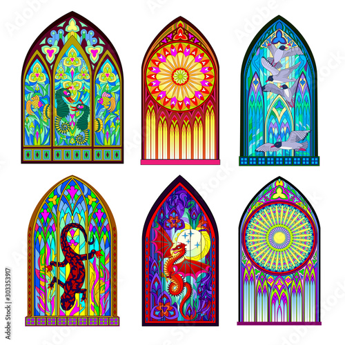 Fotografie, Obraz Set of different beautiful colorful stained glass windows in Gothic style