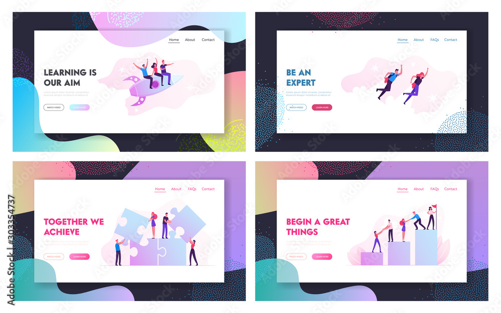 Fototapeta Teamwork Cooperation, Business Challenge Website Landing Page Set. Businesspeople Flying by Rocket, Climbing Column Chart, Set Up Huge Puzzle Jigsaw Web Page Banner. Cartoon Flat Vector Illustration
