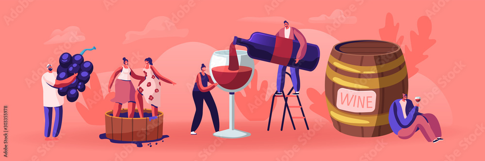 Fototapety, obrazy: Wine Producing and Drinking Concept. Man with Bottle Pouring Alcohol Drink to Glass. Male and Female Characters Grow Organic Grapes, Produce Natural Vine Production. Cartoon Flat Vector Illustration