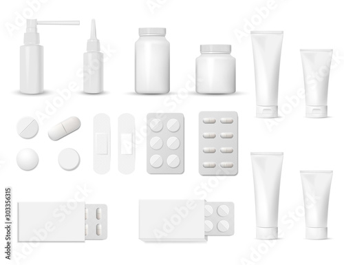 Fotomural 3d blank pharmaceutical packs: blister of pill and capsules, tube, container for tablet, bottle for drugs isolated on white background