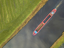 Top View Inland Freight Ship