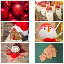 Christmas Winter Collage Of Six Photos. Christmas Red Balls, Gift Boxes, Snowman, Mug Of Cocoa, Gnomes And Gingerbread House