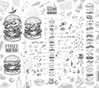 Burger menu. Vintage template with hand drawn sketches of hamburger and its ingredients. Engraving style vector icons - bun, cutlet, cucumbers, tomatoes and cheese.