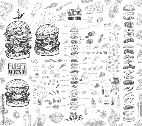 Burger menu. Vintage template with hand drawn sketches of hamburger and its ingredients. Engraving style vector icons - bun, cutlet, cucumbers, tomatoes and cheese. - 303358581