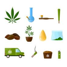 Set Marijuana. Cigarettes, Pip...