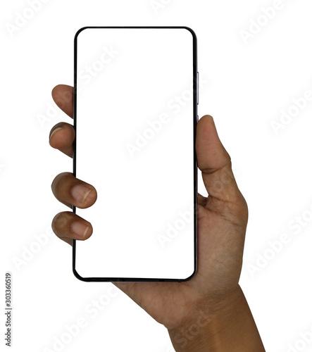 Hand holding black smart phone isolated on white background.