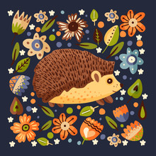 Square Card With Cute Vector Hedgehog In A Flat Style. Botanical Floral Vintage Poster. Forest Cute Animal Art With Botanical Graphic Elements.