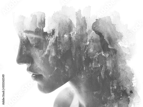 Obraz Paintography. Double exposure. Close up of an attractive model combined with hand drawn ink and watercolor painting with overlapping brushstroke texture, black and white - fototapety do salonu