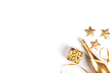 Decorated Bottle Of Golden Champagne.Symbol Of Christmas And New Year.