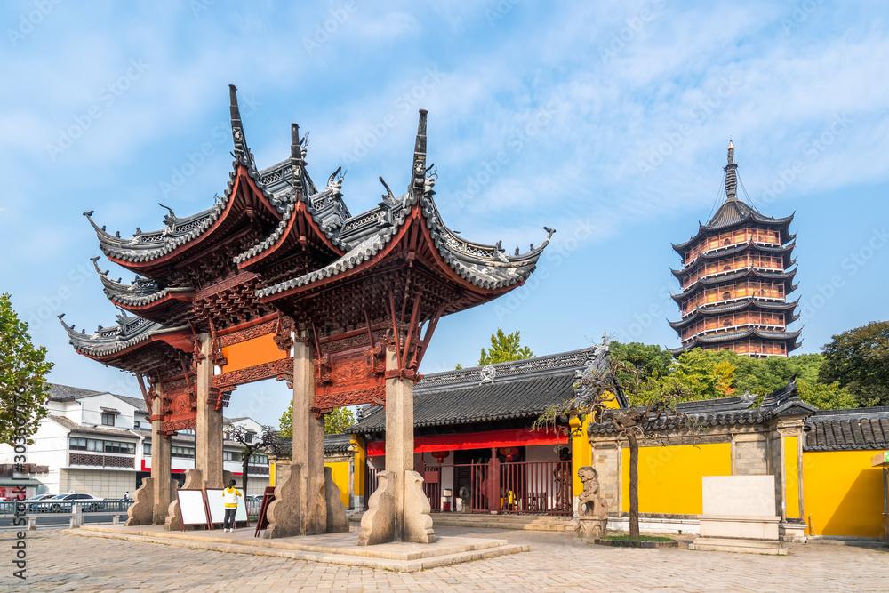 Fototapeta Suzhou ancient temple building.