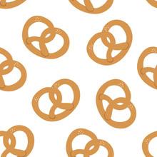 Pretzels Seamless Pattern. Hand Drawn Illustration.White Background.Bread Snack